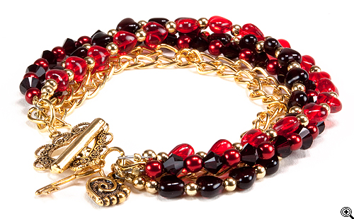 Chocolate Cherry Hearts Bracelet