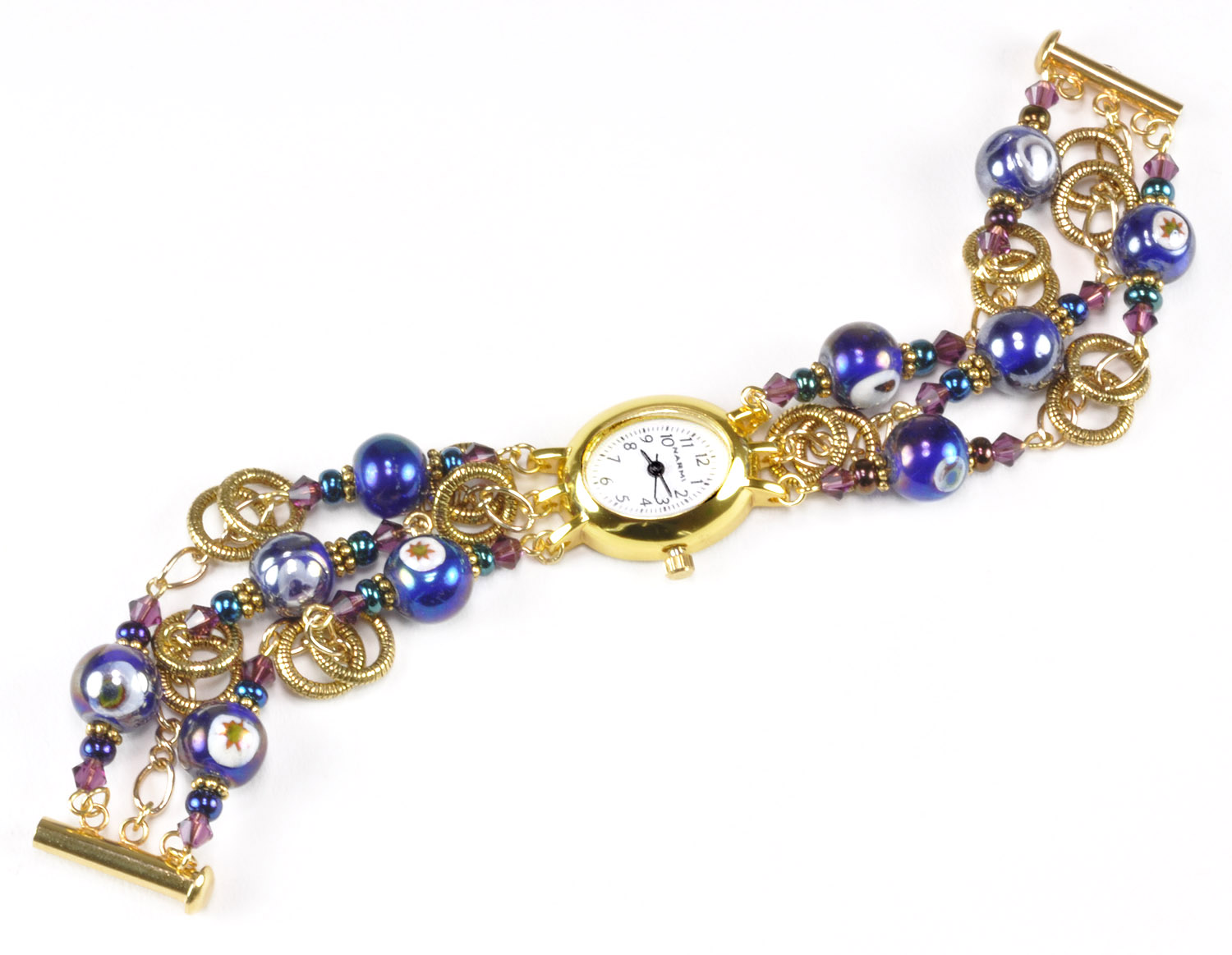 Dazzled Floating Ring 3-Strand Watch Bracelet