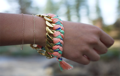 DIY Chain Woven Bracelet with Cords