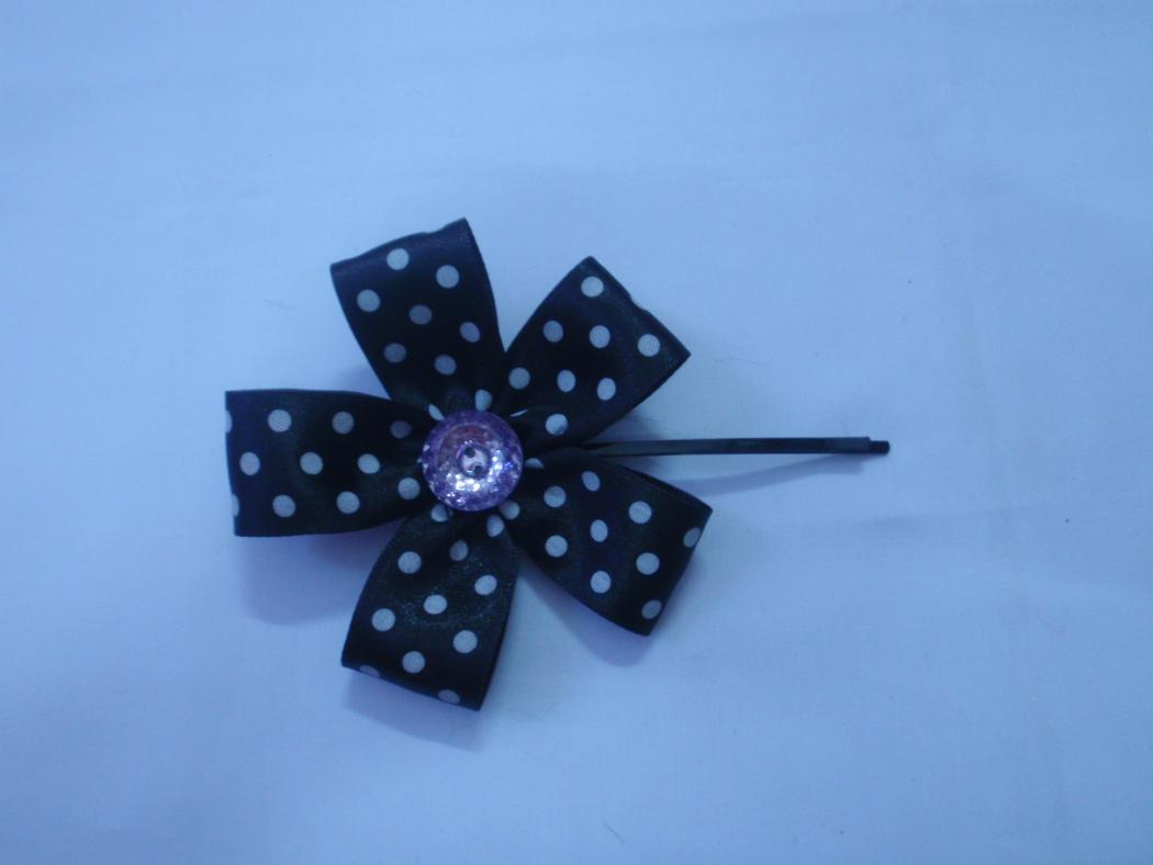 DIY Round Dot Ribbon Hair Pin