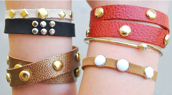 DIY Leather Studded Bracelet