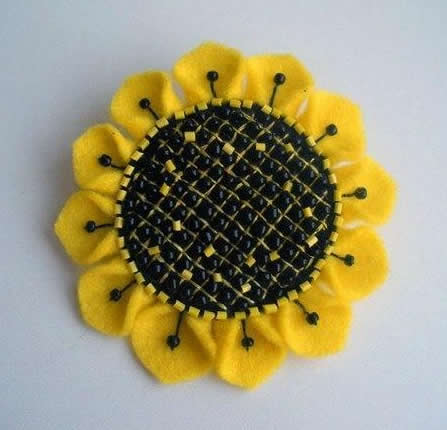 DIY Sunflower Brooch