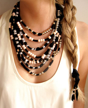 Beaded Fabric Necklace