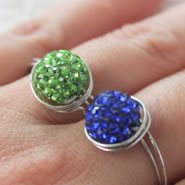 Rhinestone Clay Pave Bead Ring