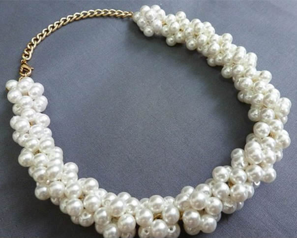 Pearl Ball Cluster Necklace