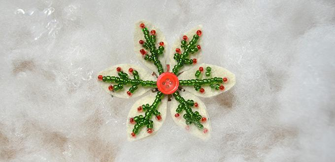Beaded Snowflake Brooch