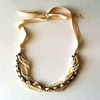 Ribbon Beaded Necklace