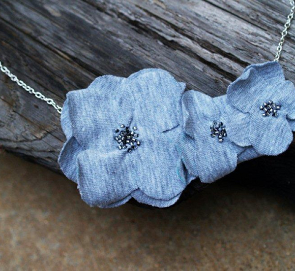 Cloth Flower Sweater Necklace