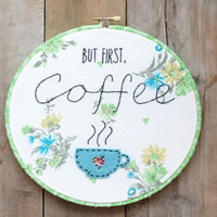 Simple Embroidery- Stitched Coffee Hoop